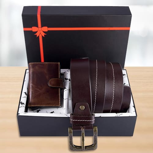 Mesmerizing Hide and Skin Mens Leather Card Holder, Belt N KN95 Mask