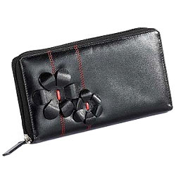 Stunning Flowery styled Leather ladies Wallet in Black