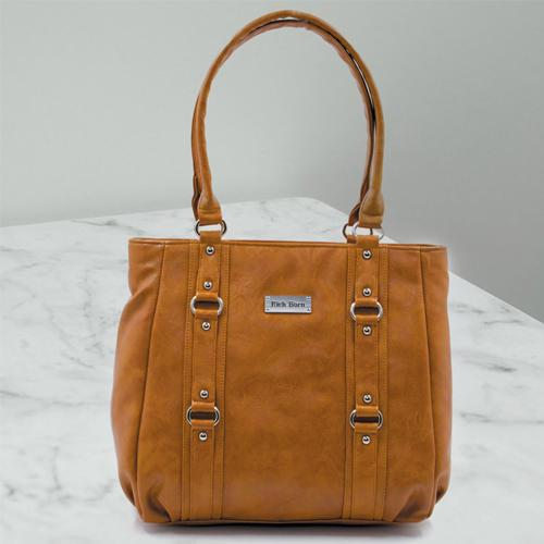 Mesmerizing Womens Leather Vanity Bag in Tan Color