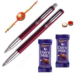 Pen set from Parker with Rakhi with Chocolate and Roli Tilak Chawal