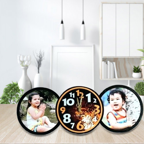 Astonishing Personalized Table Clock with Twin Photo