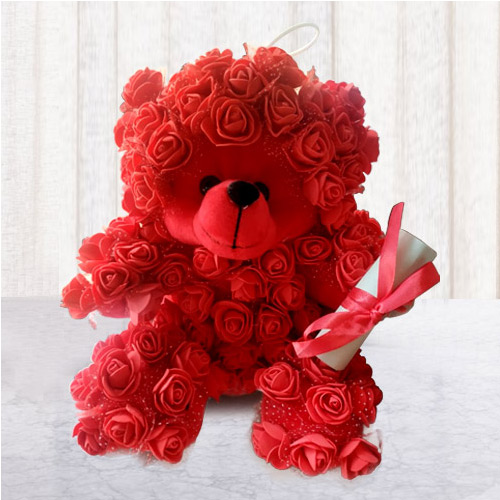 Elegant Rose Teddy with Personalized Message