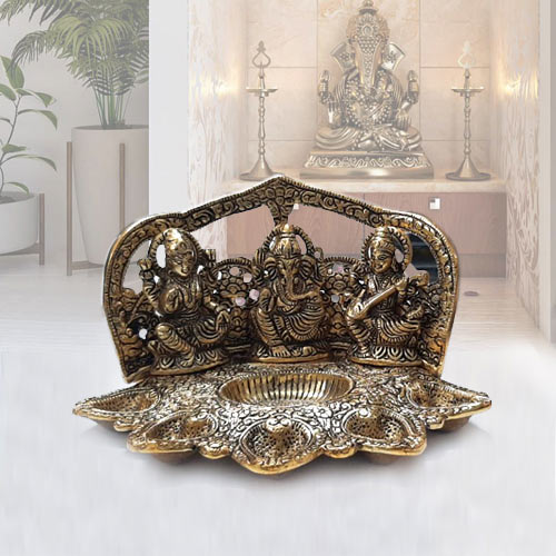 Stylish Metallic Diya with Ganesh, Lakshmi N Saraswati Idol
