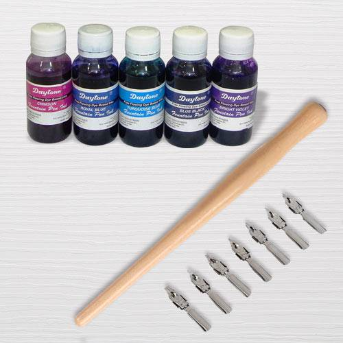 Exclusive Calligraphy Dip Pen Set with Wooden Holder n Ink