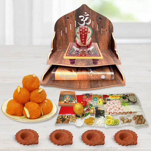 Pious Wooden Temple Gift Combo for Pooja