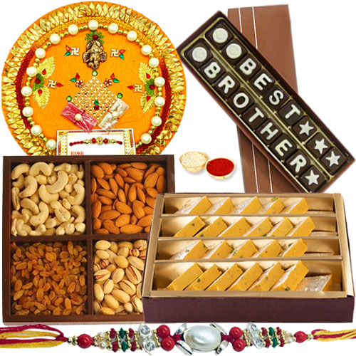 Fabulous Compilation of Best Brother Homemade Chocolate Set, Assorted Dry Fruits, Badam Barfi from Haldiram and Shree Thali Gift Set with Rakhi and free Roli Tilak and Chawal