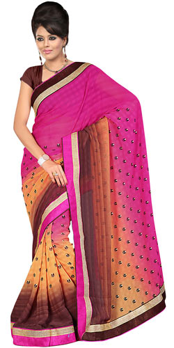 Spectacular Pink, Chrome and Brown in Shades Gorgettee Printted Saree