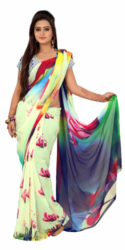 Extravagant Digital Printed Georgette Saree in Multicolour