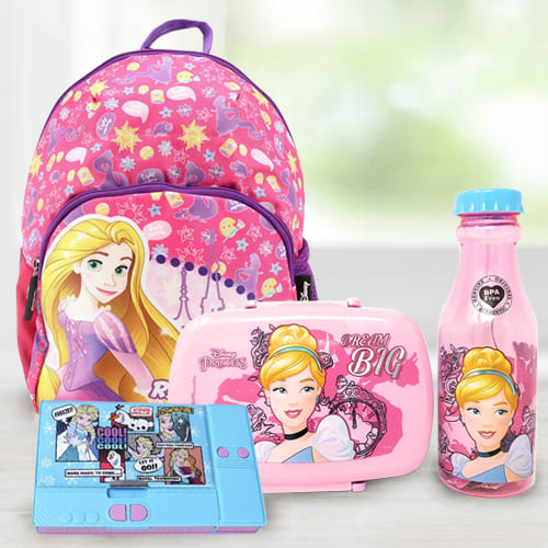 Amazing Cinderella Tiffin Combo, Rapunzel School Bag and Disney Pencil Box