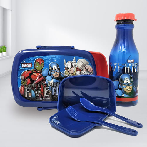 Alluring Marvel Avengers Tiffin Box n Bottle Combo