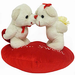 Wonderful Kissing Couple Teddy on Heart Shaped Cushion