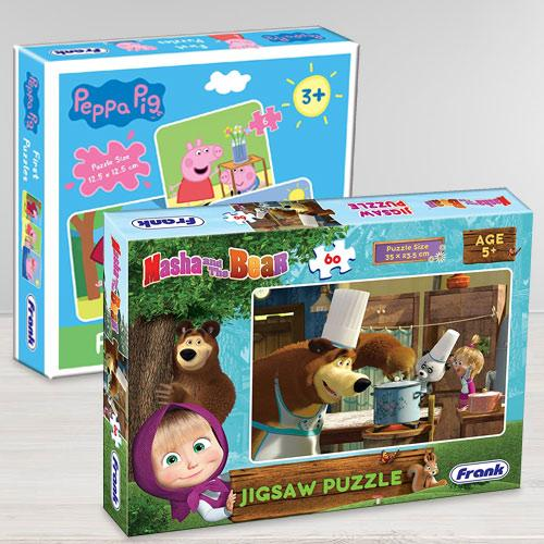 Exclusive Frank Peppa Pig N Masha and The Bear Puzzle Set