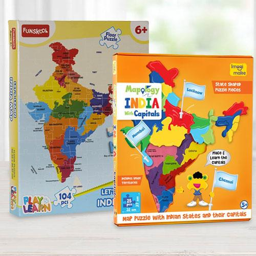 Wonderful Educational Map N Funskool India Map Puzzle Set