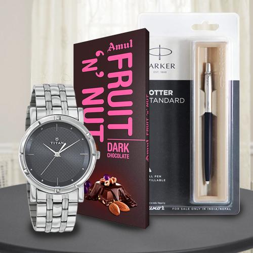 Marvelous Titan Watch with Parker Pen and Amul Chocolate