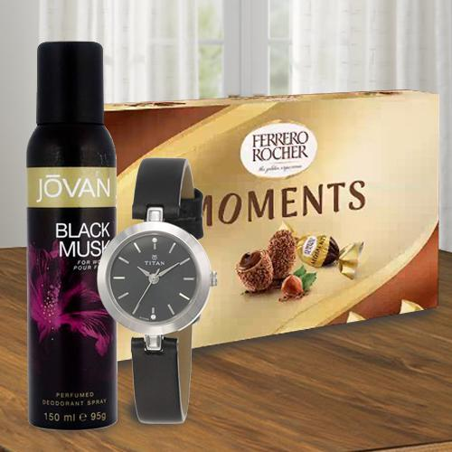 Attractive Gift of Titan Watch, Jovan Musk Deo and Ferrero Rocher Chocolates