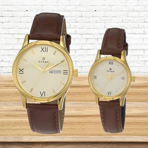 Amazing Titan Analog Gold Pair Watch