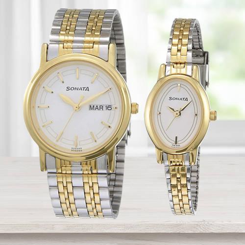 Fantastic Sonata Analog Silver Dial Pair Watch