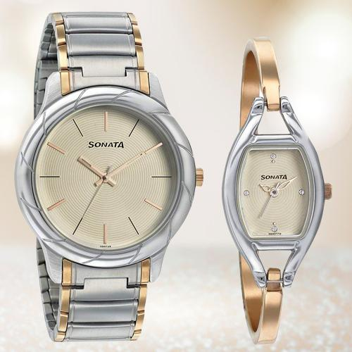 Attractive Sonata Analog White Dial Couple Watch